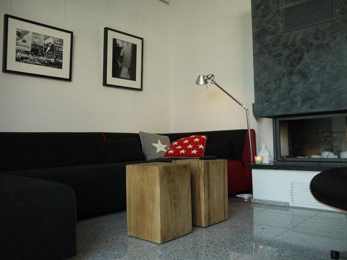 Holzblock Couchtisch Eiche 30x30x45cm geölt 2 Stück