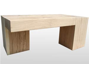 Oak beam and block couch tables in various designs