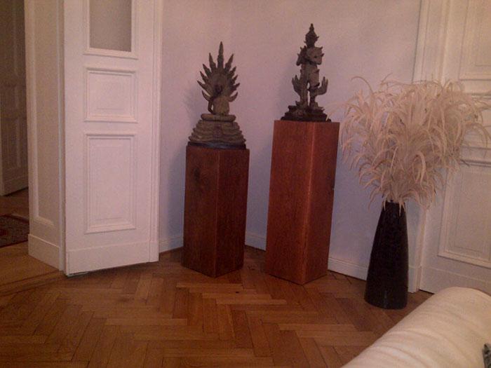 Holzsäulen 30cmx30cm 80cm und 100cm hoch - Nach Kundenwunsch in Nussbaum gebeizt