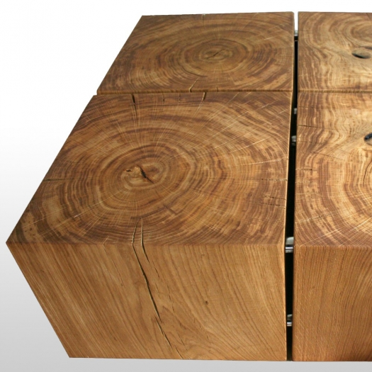 Wood block oak coffee table 4LUX 80 cm x 80 cm x 30 cm