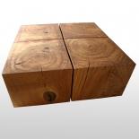 Table basse en bloc de chêne huilé