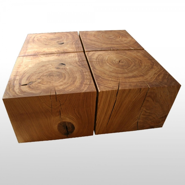 Solid Wood Table Oak Or Beech From Logs Associated With Steel Tubes