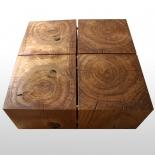 Table basse en bois de chêne huilé brut tronc