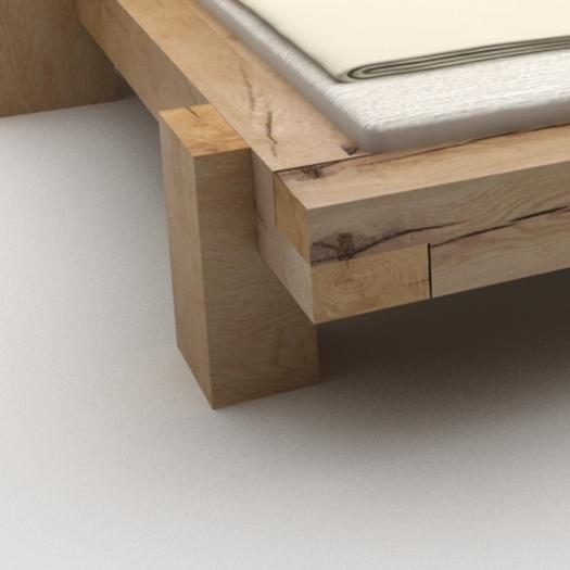 2 pieds avec table en bois massif de chêne pour votre lit