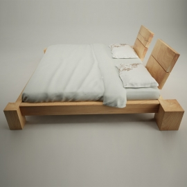 "Holzbalken Bett ""Ruhige Nacht"""
