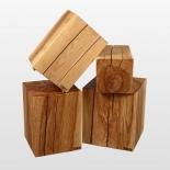 Tabouret en bois - Tronc massif de cendré huilé