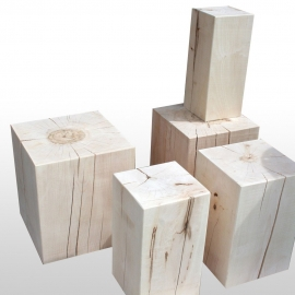 Wood block stool Sycamore