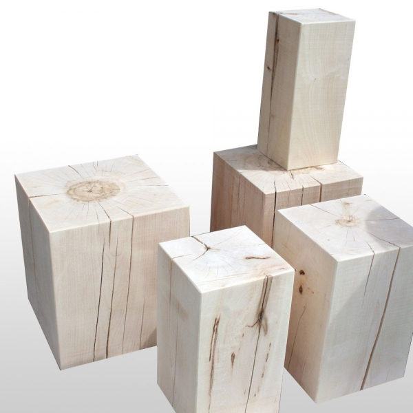 holzblock als holzhocker 100 massiv in vielen gr en aus bergahorn. Black Bedroom Furniture Sets. Home Design Ideas