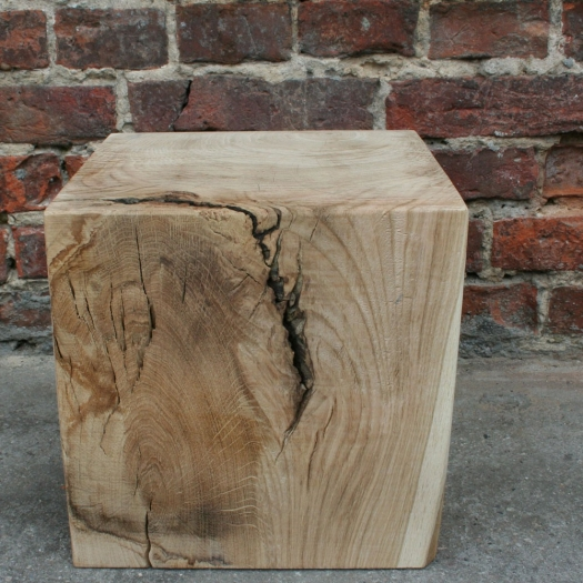 Wood block cube 30 x 30 x 30 oak