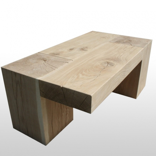 Coffee Table With Two Wooden Block Legs Solid Oak 100 Kg