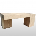Coffee table Bimetric - solid - oak wood block / log