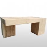 Couchtisch Bimetric - Eiche massiv - Holzblock / Baumstamm