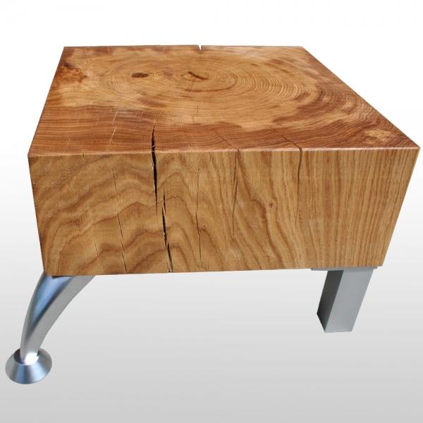 Solid Wood Block Coffee Table: Wood Block Coffee Table Oak Solid With 4 Metal Feet