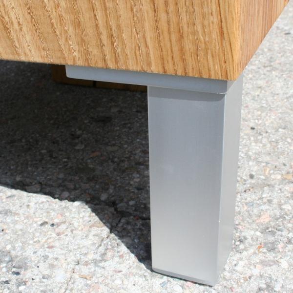 Wood Block Coffee Table Oak Solid With 4 Metal Feet
