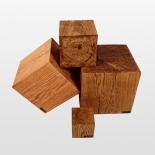 Cube de bois bloc de bois de chêne massif 15cm, 25cm, 35cm, 40cm huilé