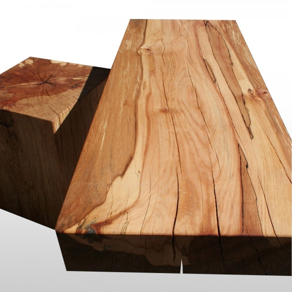 Tree Trunk Beam Coffee Table Oak Solid With Metal Feet