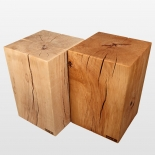 Log stool beech 30 cm x 30 cm x 45 cm oil and natural